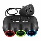 5V/2.1A 120W Dual USB Car Cigarette Lighter Charger - Black